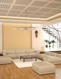 Variotherm Akoestisch klimaatplafond in luxe woningbouw villa