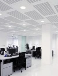 Variotherm akoestisch klimaatplafond koelplafond plafondkoeling in kantoorpand