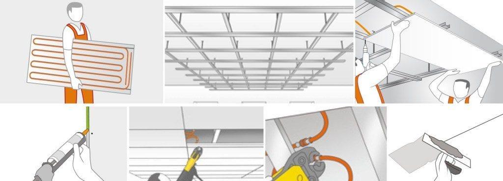 Installatie Variotherm Module klimaatplafond op houten regelwerk of metal stud