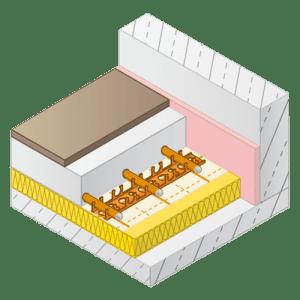 Variotherm vloerverwarming met rasterfolie en kunststof bevestiging rails