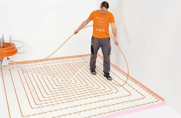 XPS-isolatieplaten onder variotherm variokomp lage opbouw vloerverwarming
